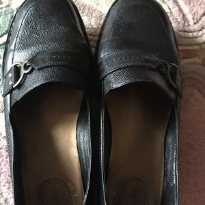 CLARKS LEATHER CROCO EMBOSSED LOAFERS LADIES 11 W